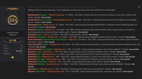 Hacker prodává 34 milionů záznamů uživatelů odcizených od 17 společností